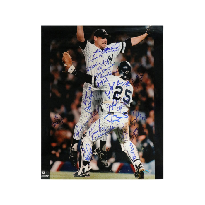1996 NEW YORK YANKEES TEAM AUTOGRAPHED PHOTO OF WETTELAND/GIRARDI WORLD SERIES CELEBRATION WITH 24 SIGNATURES 16X20 PHOTO (STEINER HOLOGRAM ONLY)