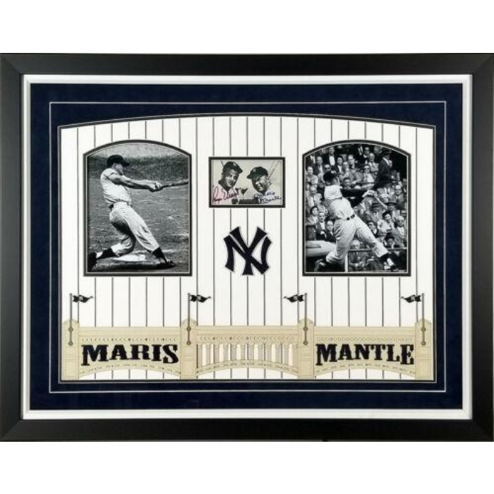 ROGER MARIS & MICKEY MANTLE AUTOGRAPHED NEW YORK YANKEES 3X5 PHOTO FRAMED PSA